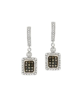 Champagne Diamond & Sterling Silver Square Drop Earrings
