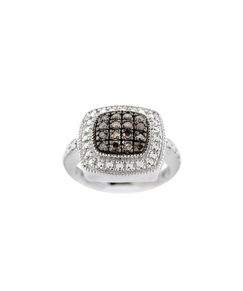 Champagne Diamond & Silver Square Frame Ring