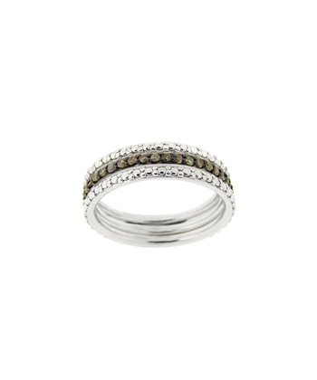 Champagne Diamond & Silver Stud Ring