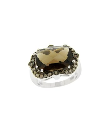 Smokey Quartz & Champagne Diamond Royal Ring