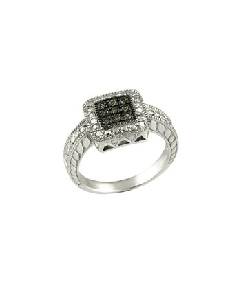 Champagne Diamond & Sterling Silver Studded Square Ring
