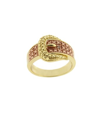 Champagne Diamond & Gold Buckle Ring