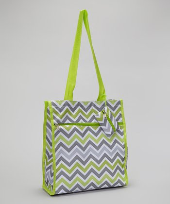 Green & Gray Zigzag Tote Bag