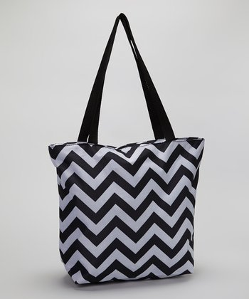 Black & White Zigzag Large Tote Bag