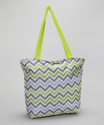Green & Gray Zigzag Large Tote Bag