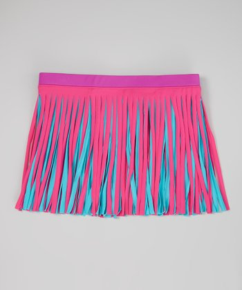 Fuchsia Frill Swim Skirt - Girls