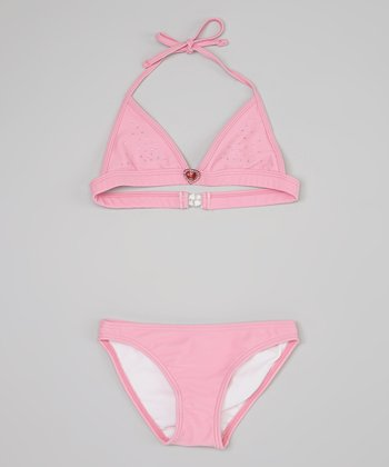 Pink & Silver Speckle Two-Piece Swimsuit - Toddler & Girls