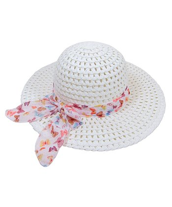 White Butterfly Straw Sunhat
