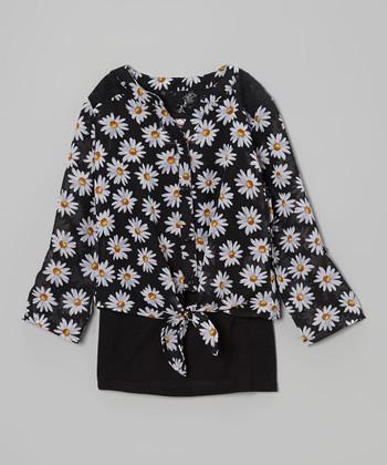 Black Daisy Lace-Shoulder Top & Tank