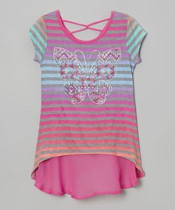 Hot Pink Stripe Butterfly Tee - Girls