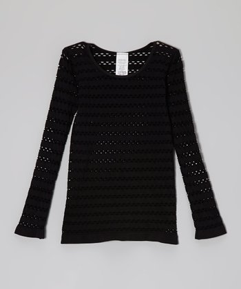 Malibu Sugar Black Open-Weave Tee - Girls