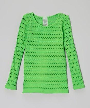 Malibu Sugar Neon Green Open-Weave Tee - Girls