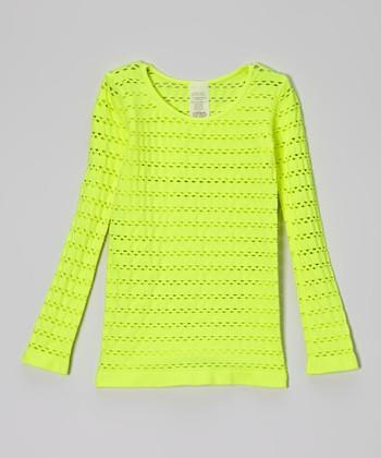 Malibu Sugar Neon Yellow Open-Weave Tee - Girls