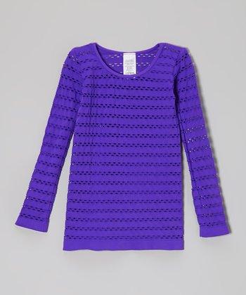 Malibu Sugar Neon Purple Open-Weave Tee - Girls