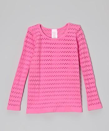 Malibu Sugar Malibu Pink Open-Weave Tee - Girls