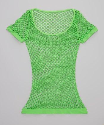 Malibu Sugar Neon Green Fishnet Tee - Girls