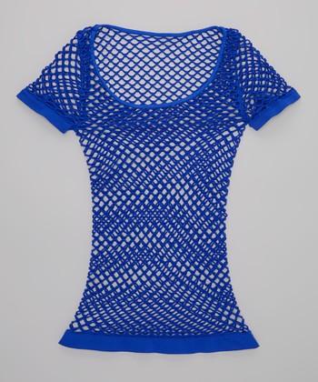 Malibu Sugar Cobalt Fishnet Tee - Girls