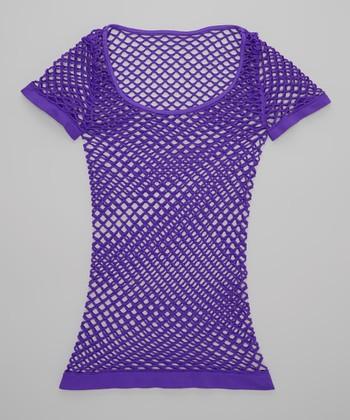 Malibu Sugar Neon Purple Fishnet Tee - Girls