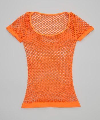 Malibu Sugar Neon Orange Fishnet Tee - Girls