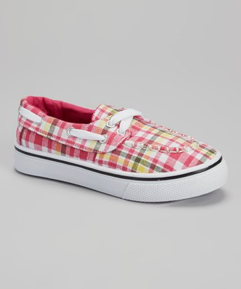 Pink Plaid Kaymann Boat Shoe - Girls