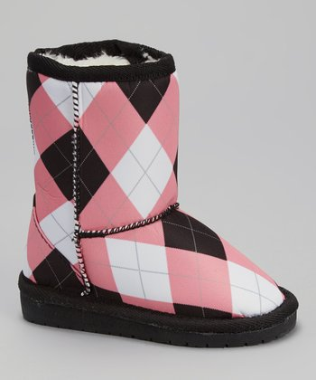 Pink & Black Argyle Australian Boot