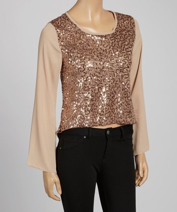 Beige Sequin Scoop Neck Top