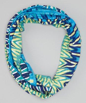 Teal Zigzag Tie-Dye Scarf
