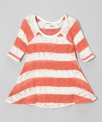 Coral & White Rugby Stripe Knit Top