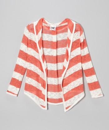 Coral & White Rugby Stripe Open Cardigan