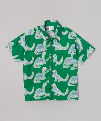 Green Dinosaurs Button-Up - Infant, Toddler & Boys