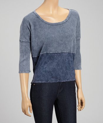 Navy Color Block Scoop Neck Top