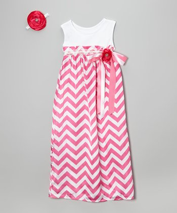 Hot Pink Zigzag Maxi Dress & Hair Clip - Infant, Toddler & Girls