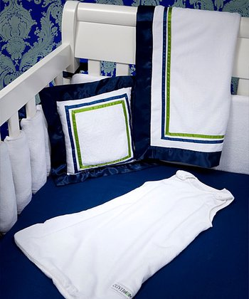 Oliver B - Navy & Green Hotel Collection 6-Piece Crib Bedding Set