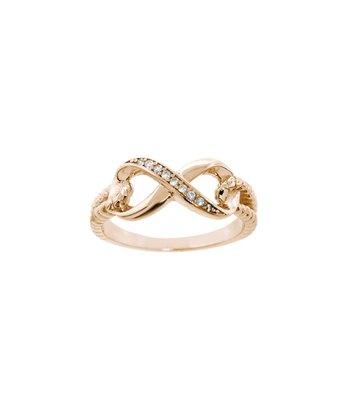 Simulated Diamond & Rose Gold Cable Infinity Ring