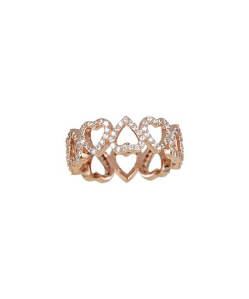 Sparkle & Rose Gold Cutout Hearts Infinity Ring