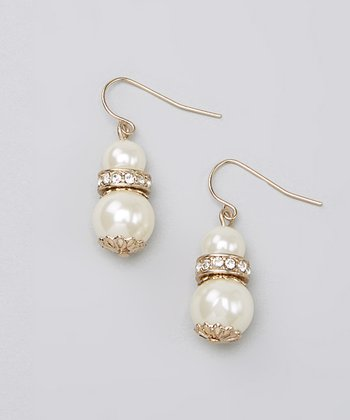 Gold & Ivory Crystal Pearl Earrings