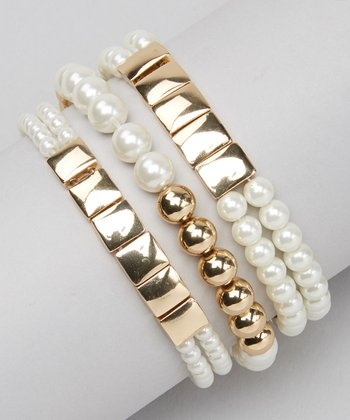 Gold Pearl Stretch Bracelet Set
