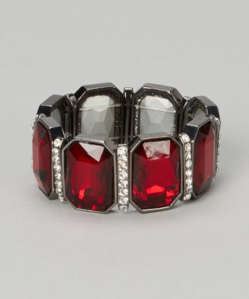 Silver & Red Crystal Stretch Bracelet