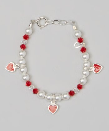 White Pearl & Red Heart Charm & Sterling Silver Bracelet