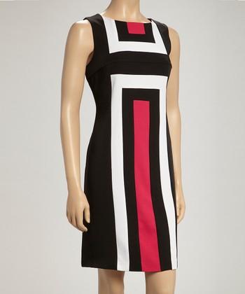 Voir Voir Black & Fuchsia Geometric Sleeveless Dress