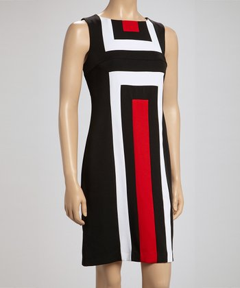 Voir Voir Black & Red Geometric Sleeveless Dress