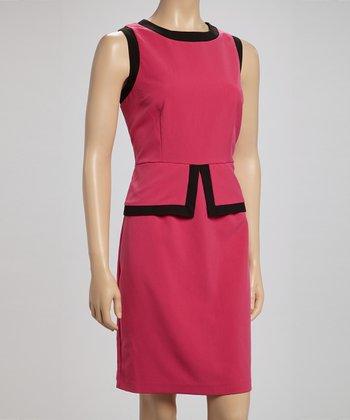 Voir Voir Fuchsia & Black Sleeveless Peplum Dress