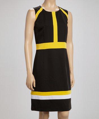Voir Voir Black & Yellow Stripe Sleeveless Dress
