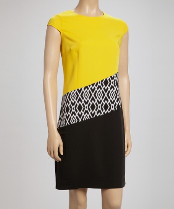 Voir Voir Yellow & Black Diamond Cap-Sleeve Dress