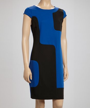 Royal Blue & Black Color Block Cap-Sleeve Dress