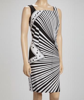 Voir Voir Black & White Burst Sheath Dress