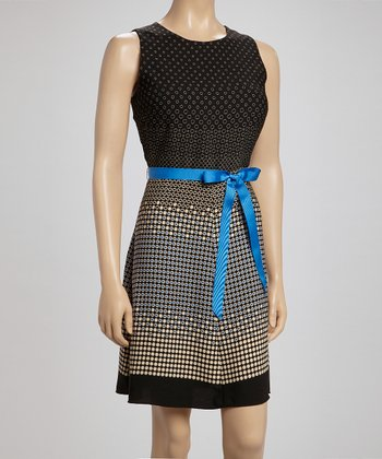 Voir Voir Black & Blue Polka Dot Dress