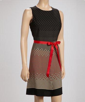 Voir Voir Black & Red Polka Dot Dress