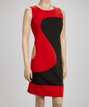 Voir Voir Red & Beige Wave Color Block Dress