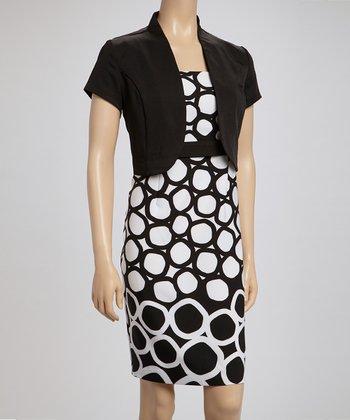 Voir Voir Black & White Polka Dot Sleeveless Dress & Shrug